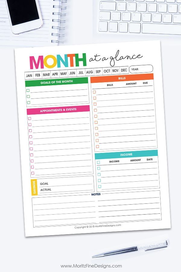 Monthly Overview Planner Planner Printables Free Printable