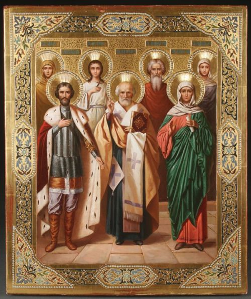 Saints Irina, Vera, Andrew, Serphima, Alexander Nevsky, Nicholas, and the Old Testament Prophetess Anna.