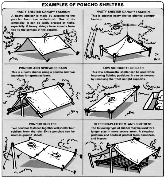 field expedient shelters  http://preparednessadvice.com/shelter/building-field-expedient-shelter-keep-dry/#.VIDOgjHF8Zw