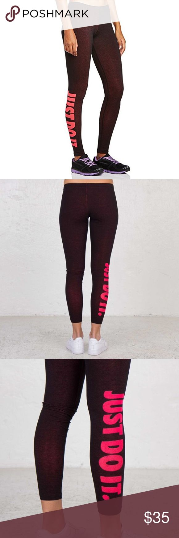 Nike Leg A See Just Do It Leggings M Excellent Nike tights in amazing condition. Black with an undertone of pink. As you wear them and they stretch more pink color comes through as in the photos. Happy Poshing Ladies! 💁🏾✨  📫 Same/Next Day Shipping 🐩 Pet Free 🚫 Trades Nike Pants Leggings
