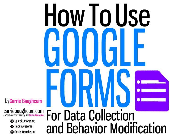 FOR GOOGLE FORM USERS: Interactive Guide to using GOOGLE FORMS for Data Collection and Behavior Modification by Carrie Baughcum