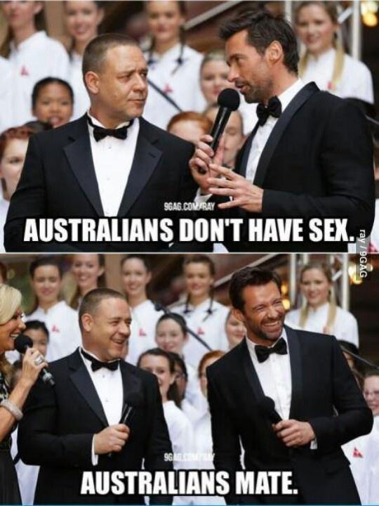 #australian #mate #funny #sex • Austrslian humour • great Australian celebrity actors Russell Crowe and Hugh Jackman • Australian mateship