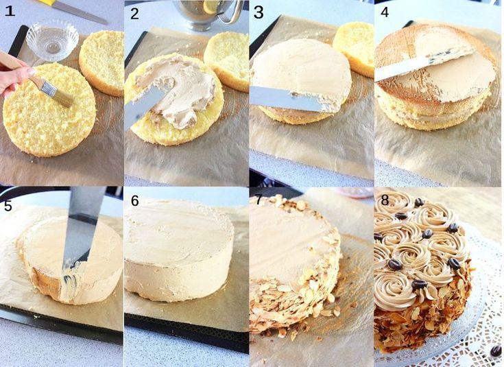 BISCUIT MOKA FAÇON CHRISTOPHE FELDER. Biscuit, crème au beurre légère (meringue italienne + crème au beurre), sirop et finition,