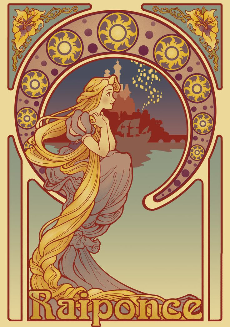Rapunzel art nouveau fanart by christadaelia, click thru for buying info