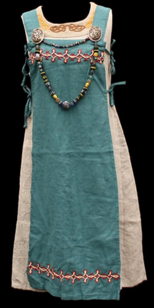 http://jelldragon.com/viking_womens_clothing.htm.  This one appears to be a tabard with straps, as well as tie-strings on both sides that help keep the garment from shifting.