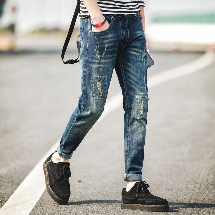 26.00$  Watch now - https://alitems.com/g/1e8d114494b01f4c715516525dc3e8/?i=5&ulp=https%3A%2F%2Fwww.aliexpress.com%2Fitem%2FStreetwear-Mens-Ripped-Biker-Jeans-homme-Men-s-fashion-Motorcycle-Slim-Fit-Black-White-Blue-Moto%2F32666921716.html - Streetwear Mens Ripped Biker Jeans homme Men's fashion Motorcycle Slim Fit Black White Blue Moto Denim Pants Joggers Skinny Men