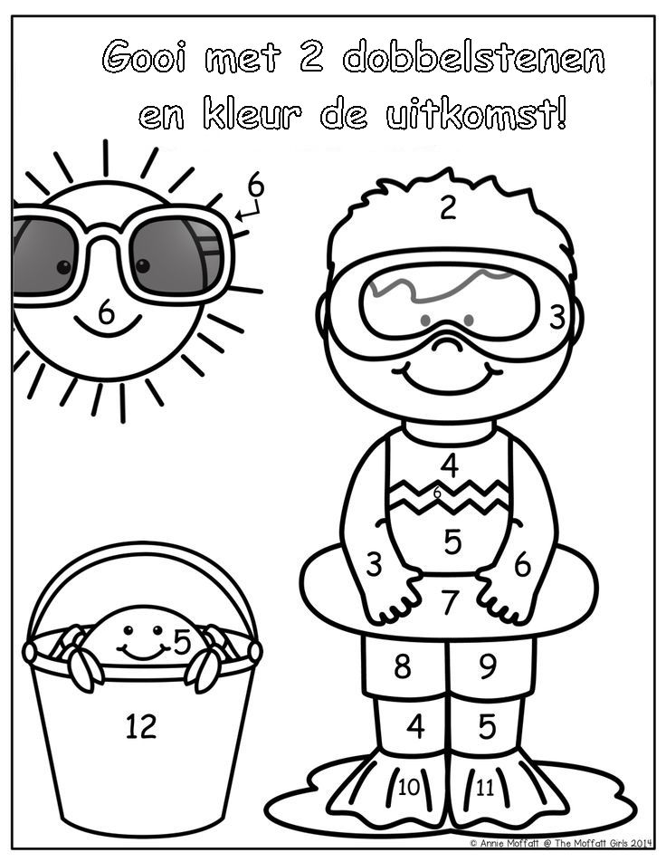 I especially like the big shades on the sun and the little crab peeking from the pail....