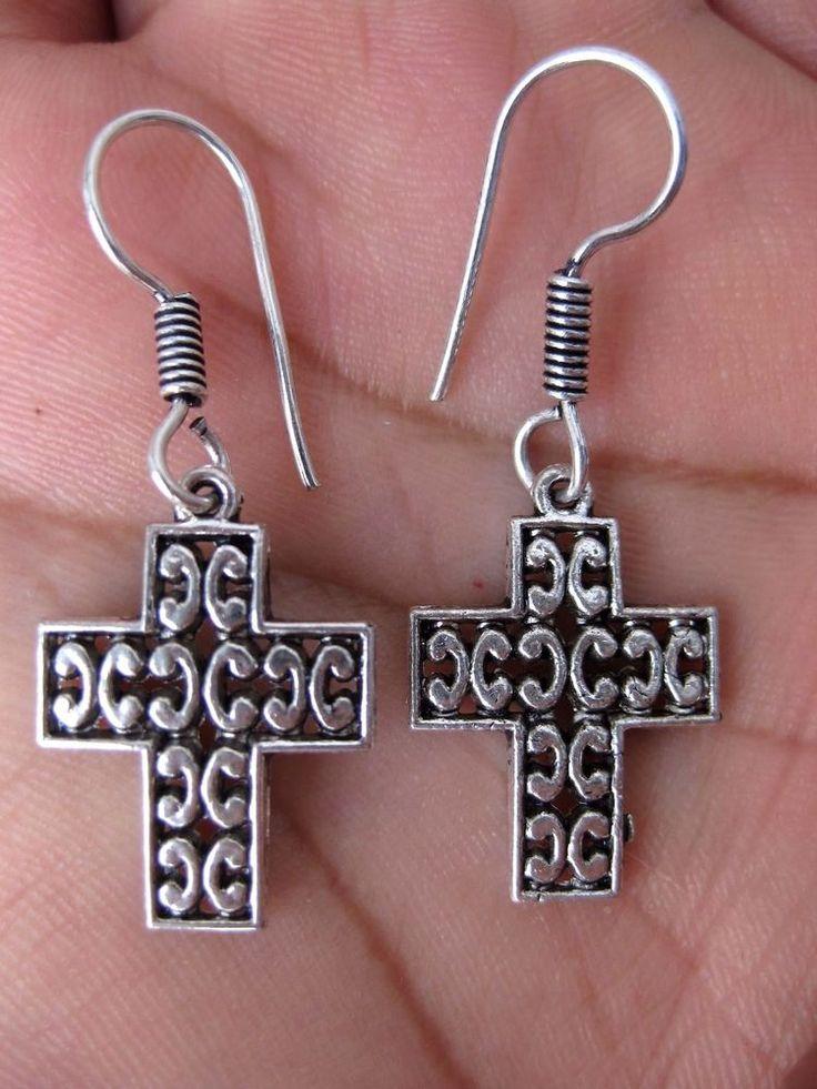 Silber Kreuz Ohrring
