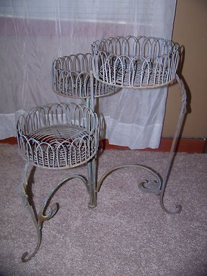 vintage 3 tier folding metal wire plant stand