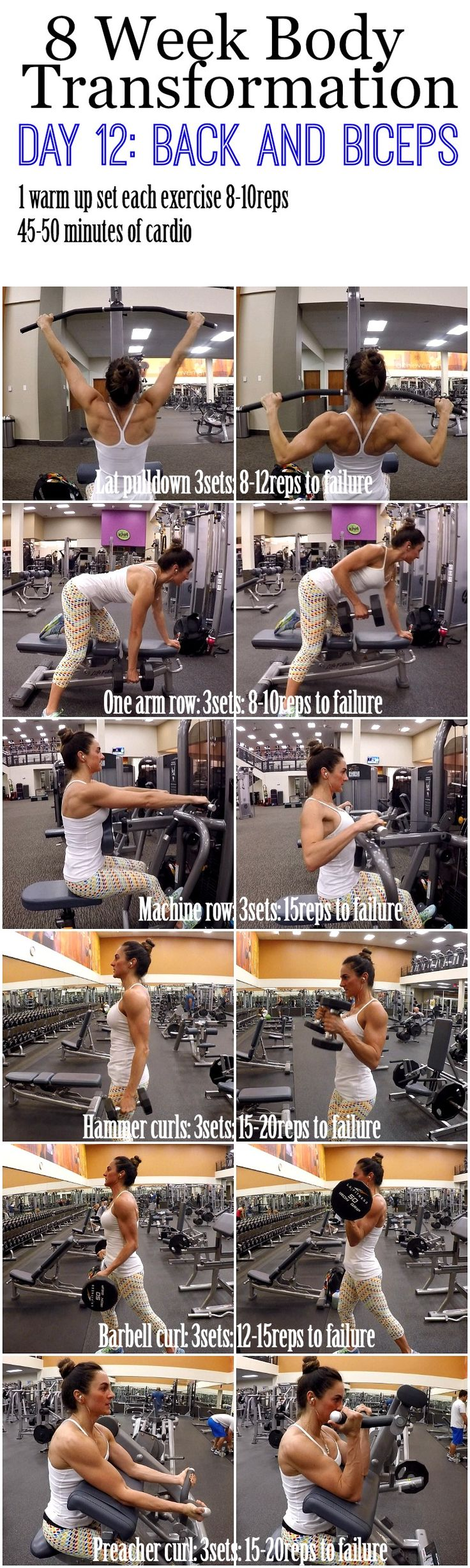 Build bigger biceps with this one trick Here we go Day 12 Back and Biceps, we are almost done with week 2 and I feel like it is flying by. I hope your legs are sore today, but they will be even more sore tomorrow (thumbs up!) Ok, moving on.. Today we are hammering out 6 exercises, 3 for our back and …