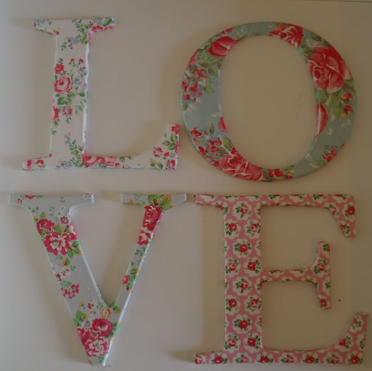 LOVE letters. Decoupage with Cath Kidston paper. Shabby chic.. $40,00, via Etsy.