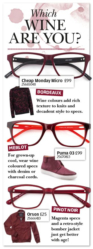 Wine coloured specs - which wine are you?
