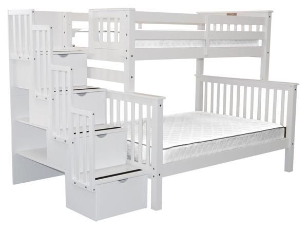 Bunk Beds Twin Over Full Stairway White Stairway Bunk Beds Bunk