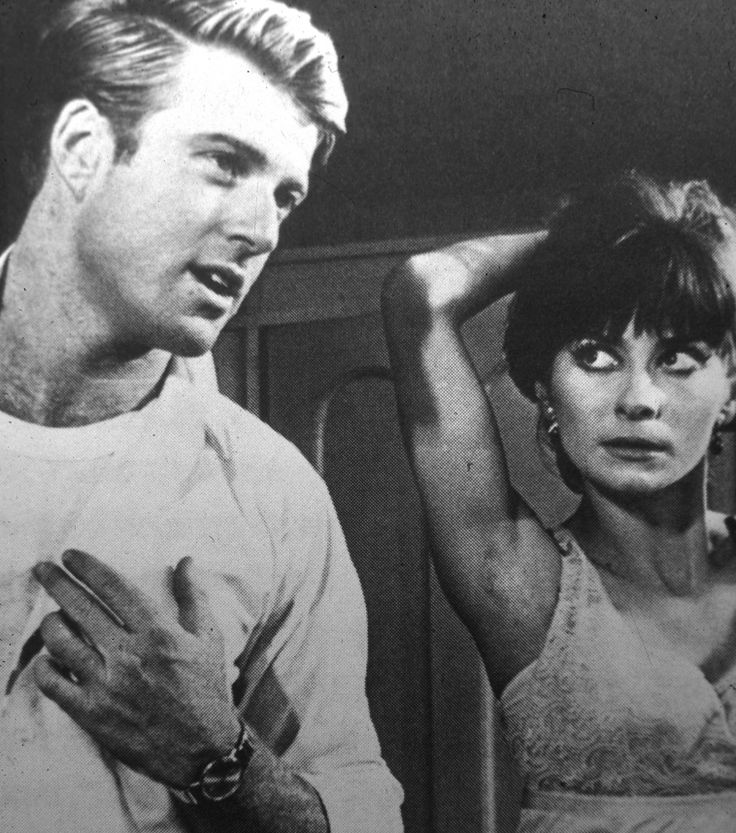 """Backstage for """"Barefoot in the Park,"""" staring a young Robert Redford and Elizabeth Ashley, at the Shubert."""