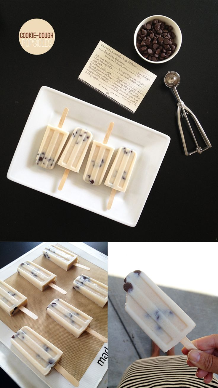 Cookie dough popsicles.: Cookie Dough Popsicles, Chocolate Chips, Chocolates Chips Cookies, Cookies Dough Popsicles, Cookies Dough Desserts, Popsicle Recipes, Popsicles Cookies Dough, Popsicles Recipes, Cookiedough