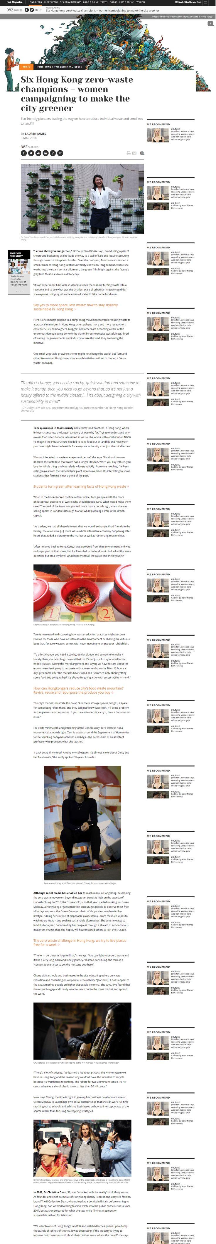 """Six Hong Kong zero-waste champions – women campaigning to make the city greener"" - SCMP Post Magazine, March 2018 #sustainablefashion #ECDA  #EcoChicDesignAwards #getredressed #RedressDesignAward #RDA #christinadean #drchristinadean"