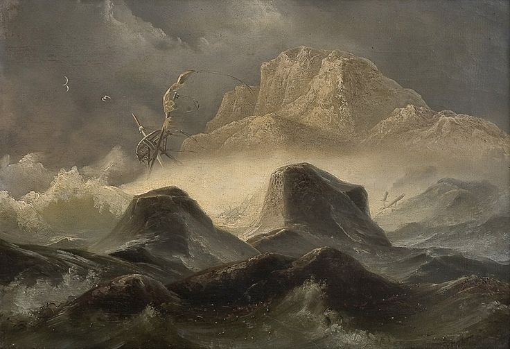 Storm on the Norwegian coast, 1846 by Knud Baade