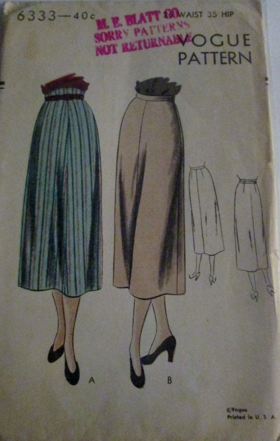 Vogue 6333 Womens 40s Pencil Skirt Sewing Pattern by Denisecraft, $12.99