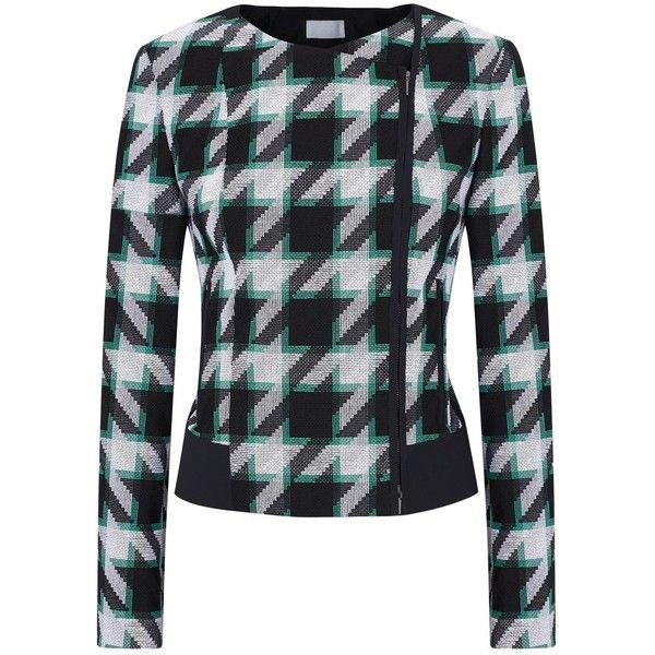 Womens Smart Jackets HUGO BOSS Jurani Houndstooth Jacquard Jacket (€585) ❤ liked on Polyvore featuring outerwear, jackets, hugo, zipper jacket, green jacket, green zip jacket и asymmetrical zip jacket