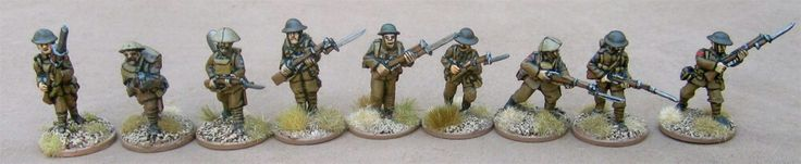 Advancing (from left to right): one of my own, Renegade Miniatures, Great War Miniatures, 1st Corps, Brigade Games,  Gripping Beast/Woodbine Design, Old Glory, Irregular Miniatures, and Wargames Foundry.