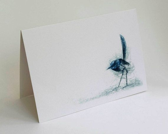 Superb Fairy Wren Card, Greeting Card, Art Card of Bird, Wren, Australian Bird
