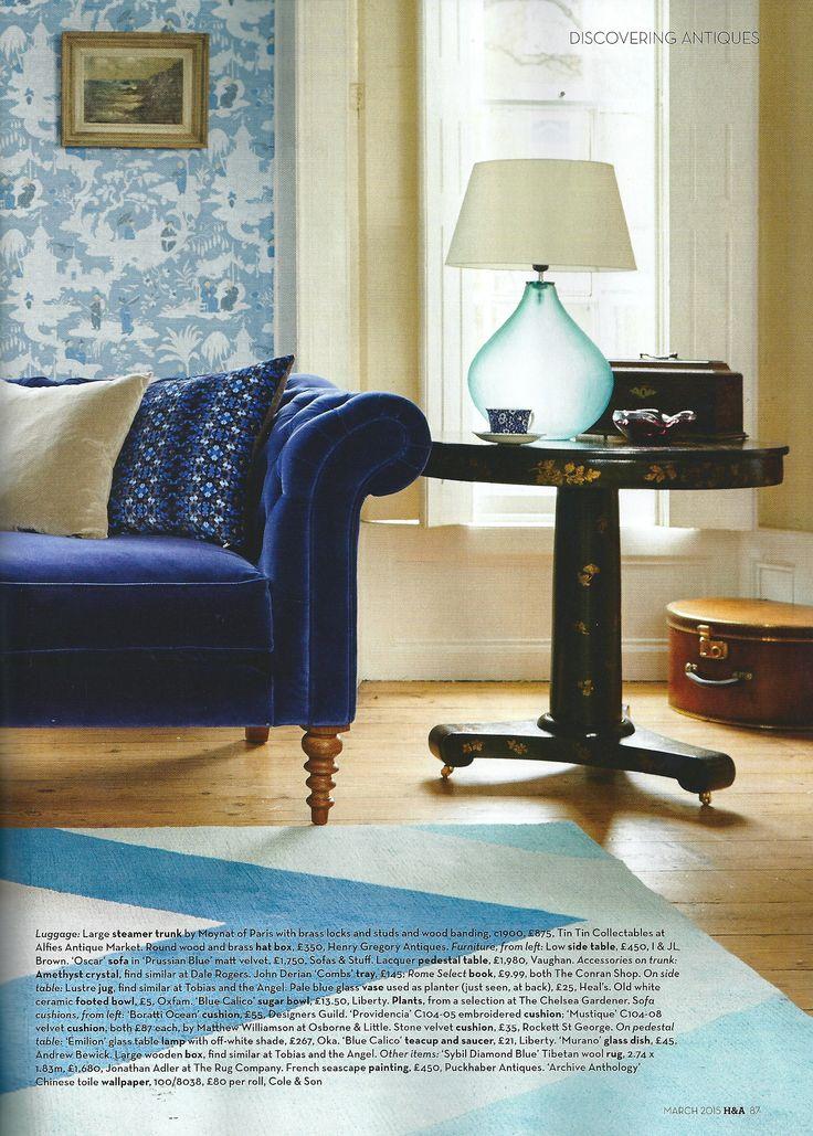 Homes U0026 Antiques - March 2015 - Vaughanu0026#39;s Lacquer Pedestal Table | Vaughan Designs | Pinterest ...