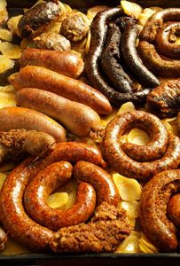 Hungarian sausages are a common and very filling snack with chips - Spicy smoked sausage,  (Kolbász) boiled sausage (Hurka) and Blood sausage (Véreshurka)
