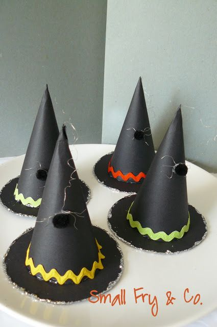 Witch Hat Party Favors - put a square of tissue to cover bottom - kids break through it to get candy