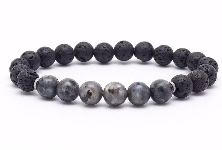 Mens Armbands – Bracelet men stone lava larvikit – a unique product by Blackif on DaWanda