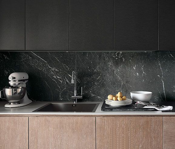 Create A Statement Splash Back With Black Marble Look Tile Product Roma Grafite Satin Marble Look Tile Kitchen Marble Marble Floor Kitchen