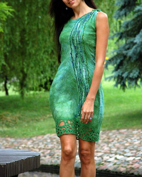 Felt dress Green-blue by fancycolor on Etsy