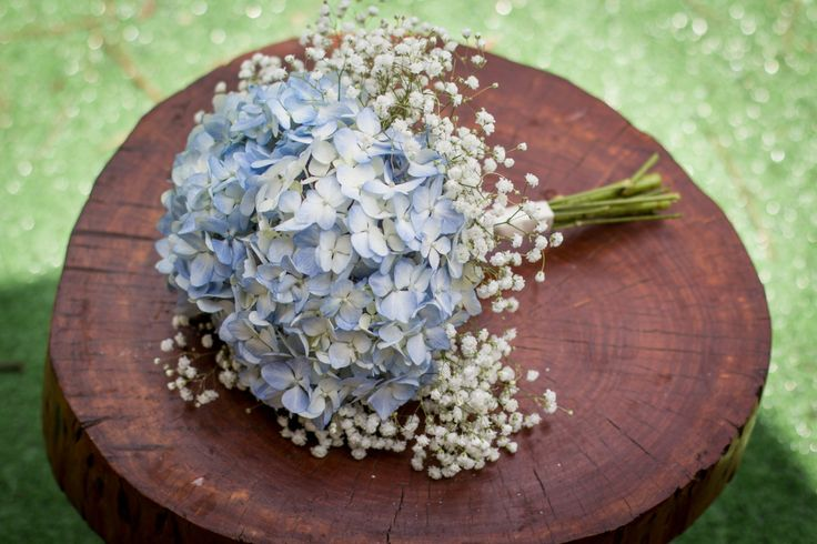 Rustic - Shabby Chic - French Country Bridal Bouquet - Cream and Blue Hydrangea with baby's breath collar and cream satin stem wrap Portfolio | Teacup Floral |Teacup Floral |