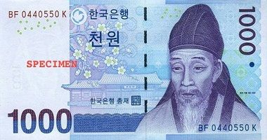 South Korean Won to US Dollar cash converter