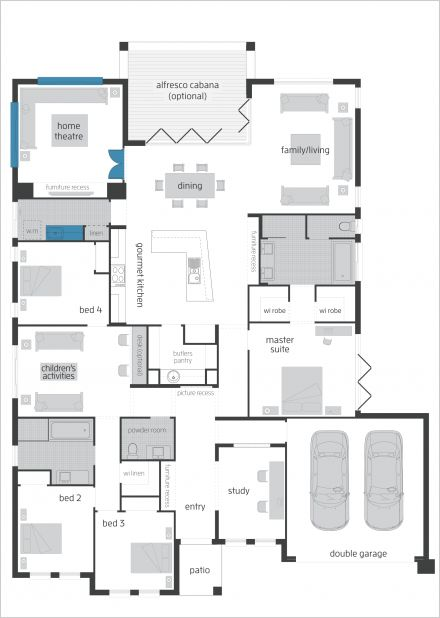 Seaside Retreat Upgrades Floor Plan - by McDonald Jones. The Seaside Retreat captures the essence of modern living and also offers enhanced options such as additional Study, Butler's Pantry and alternate Ensuite and Walk in robe in the Master Suite and much more. #mcdonaldjones #floorplan #seasideretreat #housedesigns