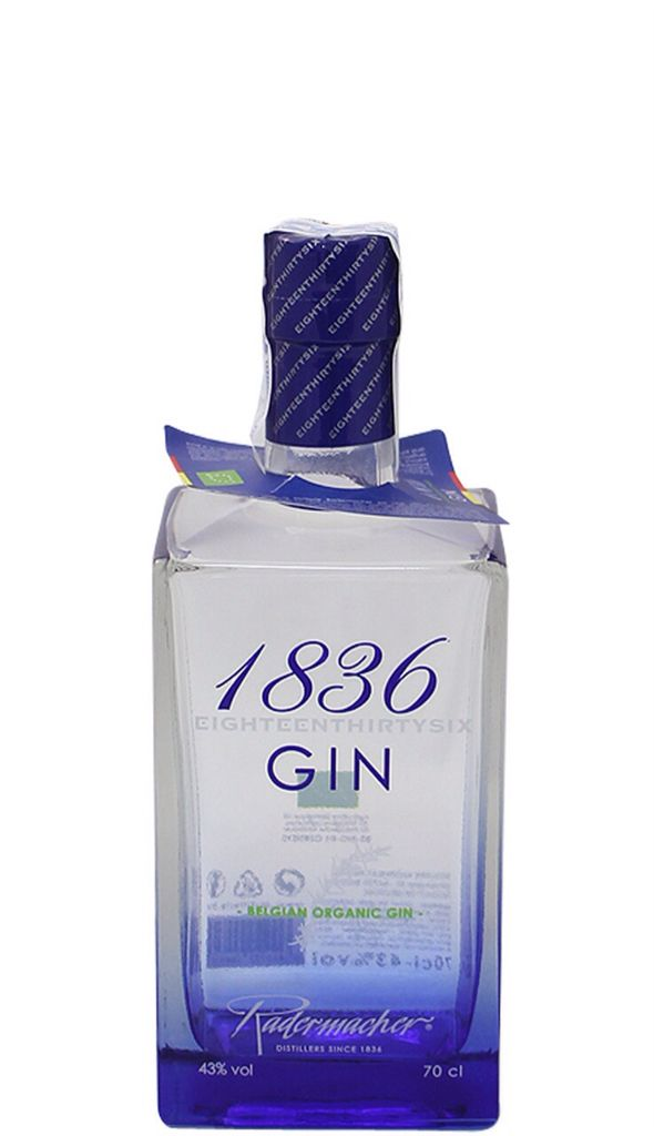 1836 gin Eighteenthirtysix gin is a belgian organic gin made by Radermacher distillery. This gin is made by an infusion of 11 botanicals such as juniper berry, bergamot, lemon peel, coriander, orange peel, cardamom, angelica, lavender, elderflower, cinnamon and pine.