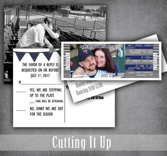 Baseball Wedding Invitation Set, Sports Wedding Ticket Invitation, RSVP Postcard, Baseball Wedding, Minnesota Twins, New York Yankees by CuttingItUp