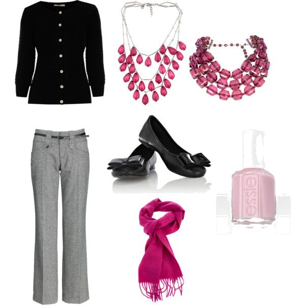 Pink & Black Work Outfit. - 254 Best Hot Pink(ish) & Black(ish) PR Consultant Outfits And