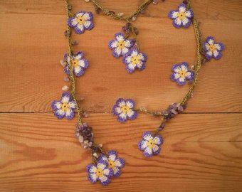 white flower necklace crochet lariat oya by PashaBodrum on Etsy