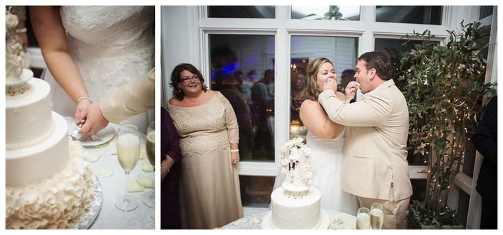 wedding cake cutting // Cindy's Cakery llc // Ashley Peterson Photography// The Inn at Warner Hall