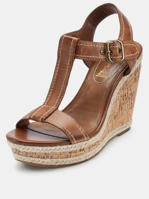 Hush Puppies Renown Leather Wedge Sandals - Tan...found at Macy's in USA. #WedgeSandals