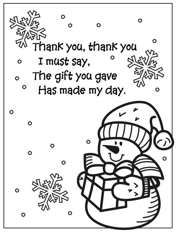 Snowman Coloring Page Thank You Poem Snowman coloring
