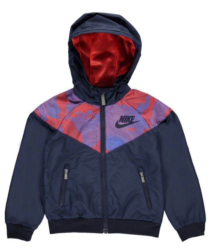 Nike Little Boys' Windbreaker Jacket (Sizes 4 - 7) - obsidian, 4. Nike windbreaker jacket. 100% polyester. Machine wash cold, inside out. Imported.