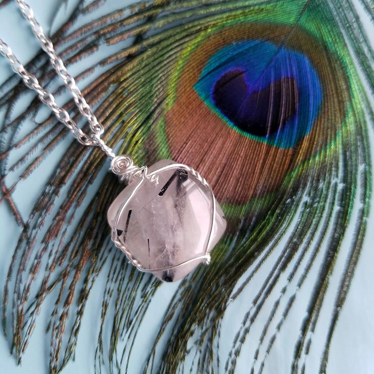 Dainty Crystal necklace, tourmalinated crystal, quartz crystal cabochon, black Tourmaline necklace, tourmalinated quartz, crystal jewelry by TheYarningPot on Etsy