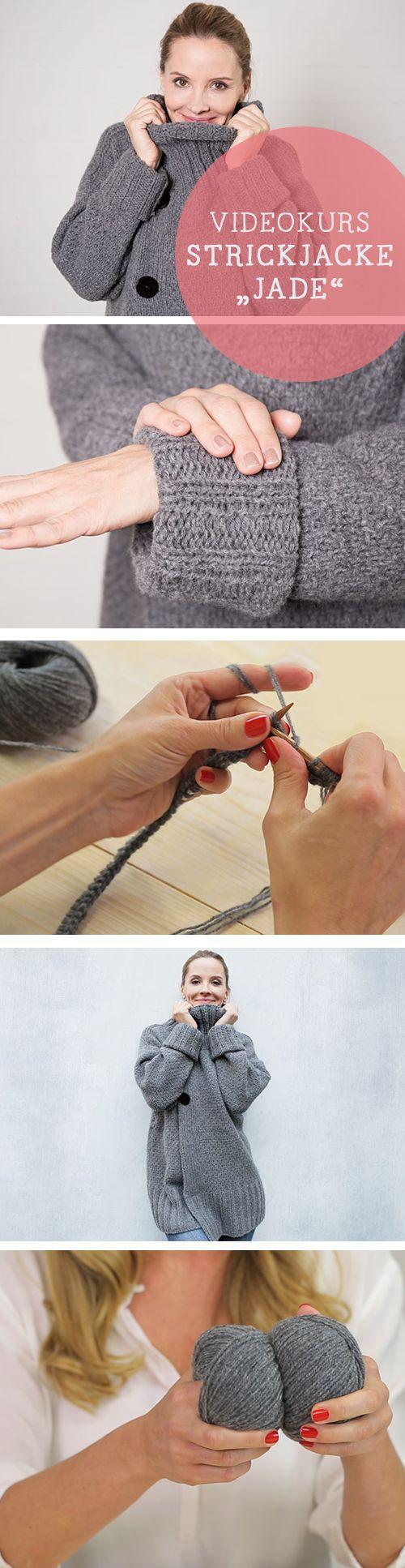 Videoanleitung für ein kuschelige Strickjacke mit Webeffekt / diy video tutorial: woolen cardigan via DaWanda.com