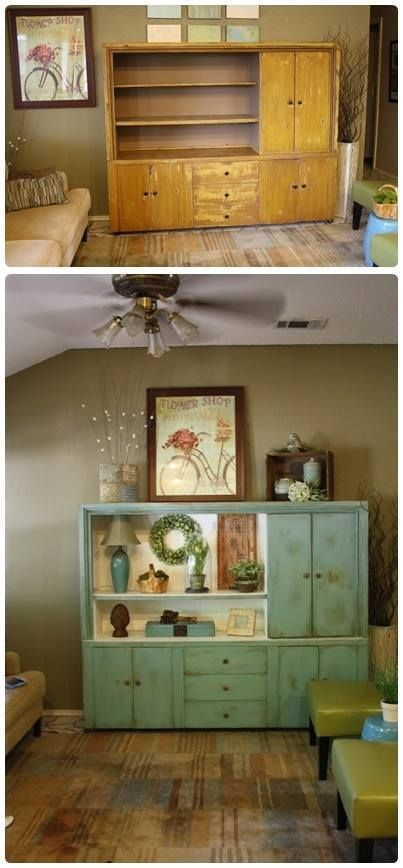 This is a great re-purpose of an old entertainment center.