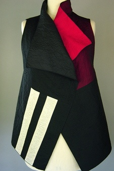 Draped Collar Vest in Black with Red and Two White Bands