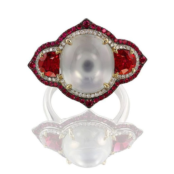 Red & White!!! #red #spinel #ruby #white #moonstone #diamonds #ivy #ivynewyork www.ivynewyork.com