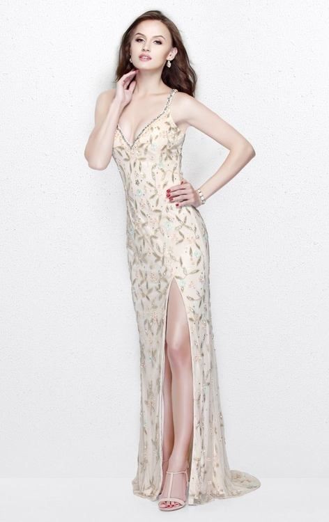 Primavera Couture - Beaded V-Neck Long Dress with Slit 1865| CoutureCandy