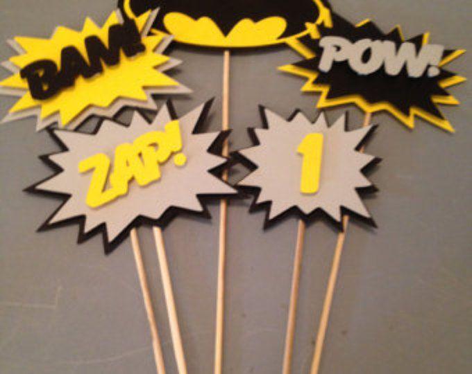 Centro de mesa de Batman, 5 pc, fiesta de superhéroes, Batman Party, fiesta de cumpleaños de Batman