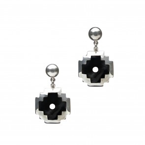"""Part of the Kamari Collection, these sterling silver earrings feature a Chakana cross with Onyx. The Incan cross symbolizes the """"Tree of Life"""" which is a precious symbol of the ancient Peruvian cultures. Hand made in the same fashion as our other silver jewelry, the Chakana earring is unique within itself. #silver jewelry #silver earrings"""